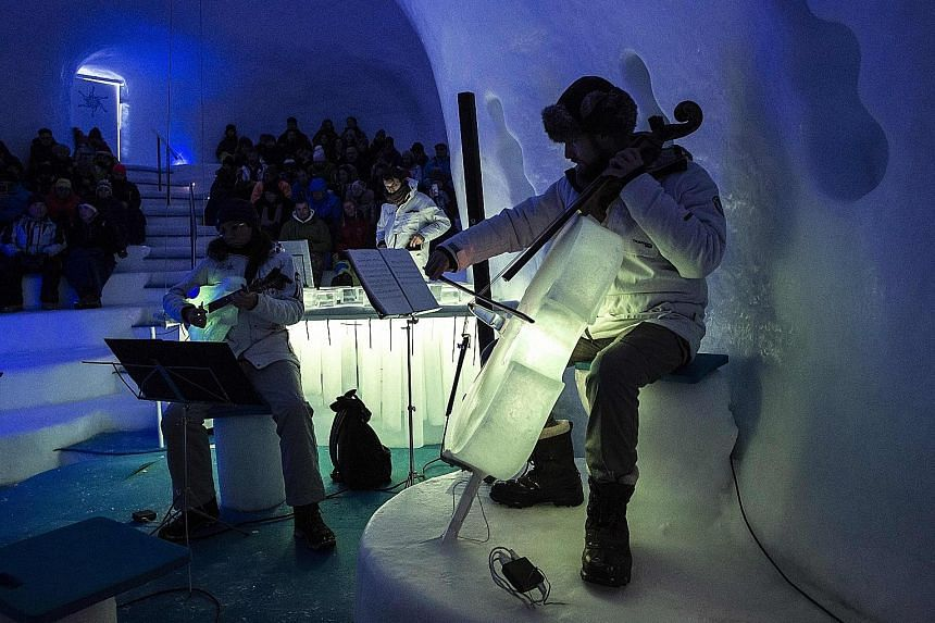 When Mr Tim Linhart started making instruments from ice, they were more likely to explode with a bang than produce music - but things have come a long way since then. Today, the 59-year-old United States-born artist is in charge of an ice orchestra o