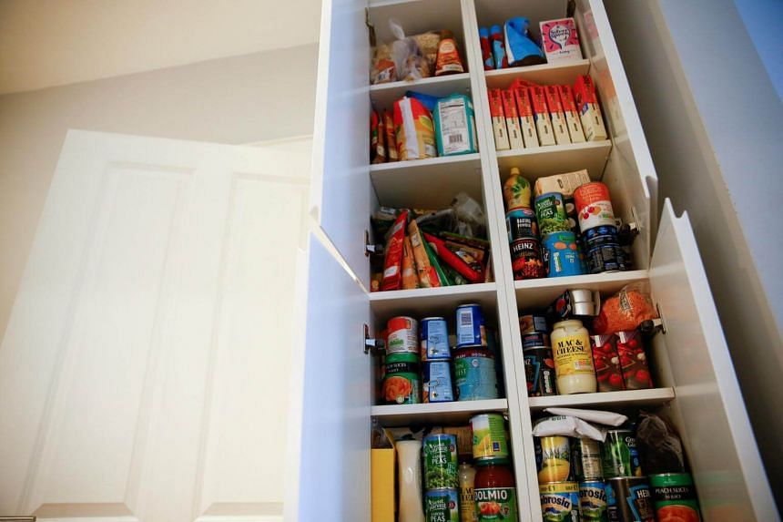 Food supplies stored by Ms Elgarf at their home in London, Britain, on Jan 30, 2019. She wants to stockpile medicines for her daughter too but cannot do so because they are available only on a monthly prescription.