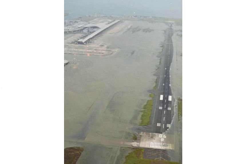A runway at Kansai Airport that was flooded by a typhoon in September 2018.