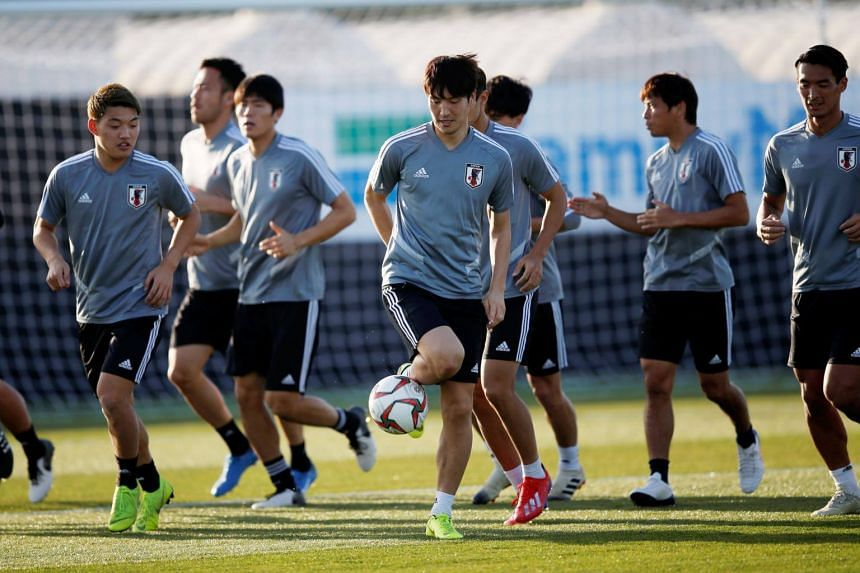 Players of Japan during a training session in Abu Dhabi, United Arab Emirates, on Jan 31, 2019.