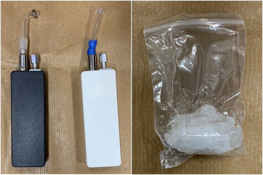 Various drug-taking equipment (left) and 84g of the drug Ice were recovered from a residential unit near Toa Payoh Lorong 1.