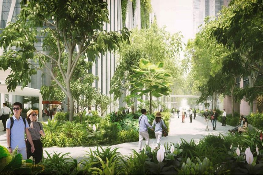 An artist's impression of how Market Street will be partially converted into a public park.