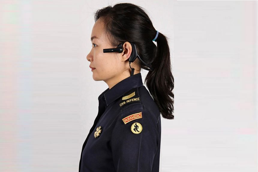 The compact device, worn over the ear, will be progressively rolled out to all SCDF paramedics by next year. Such body-worn cameras are being introduced to improve the quality and effectiveness of the agency's emergency medical services.