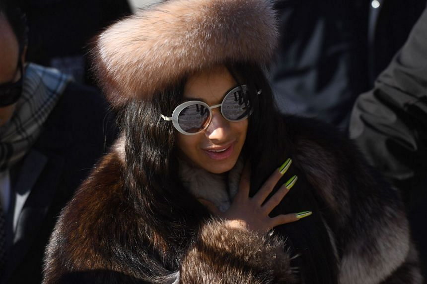 Rapper Cardi B arrives for a hearing at Queens Criminal Court in New York.