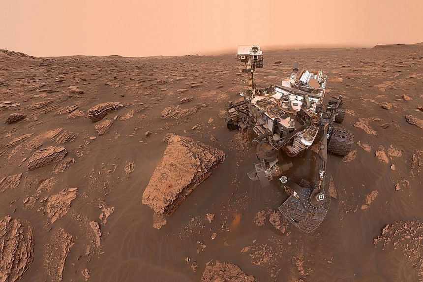 A self-portrait taken in June last year by Nasa's Curiosity rover at the Gale crater, at the centre of which stands Mount Sharp, a mound rising more than 4.8km high.