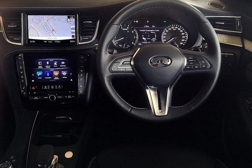 The Infiniti QX50's engine is among the smoothest 2-litre four-cylinders around, matching the creaminess of a bigger power plant with more cylinders.