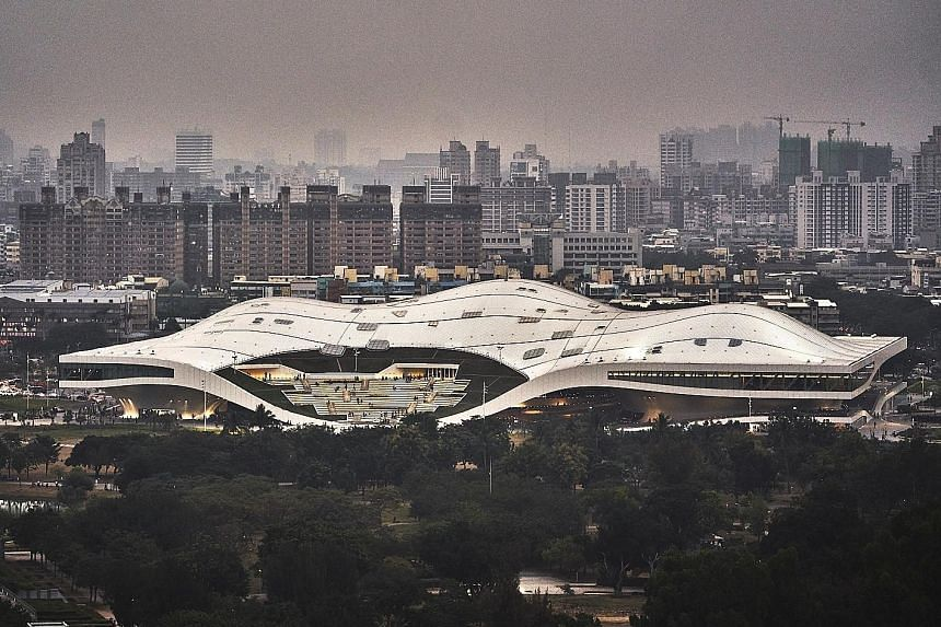 The National Kaohsiung Centre for the Arts in Taiwan, also known as Weiwuying after its surrounding park, is the world's largest single-roof performing arts centre.