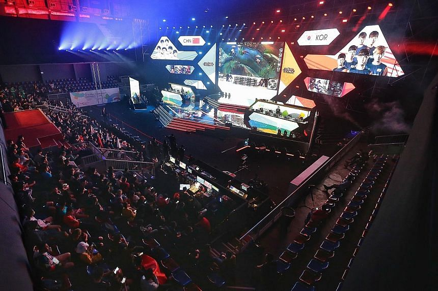 Teams from China and Korea competing in League of Legends during the e-sports demonstration event at last year's Asian Games in Jakarta.