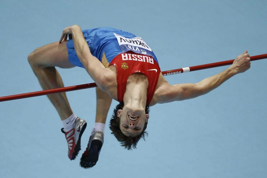 Ivan Ukhov competing in the men's high jump final at the IAAF World Indoor Athletics Championships 2014.