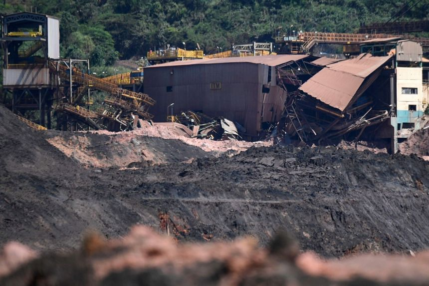 Damaged facilities at the area around the dam that collapsed on Jan 25, 2019, near the town of Brumadinho, south-eastern Brazil, on Jan 31, 2019.