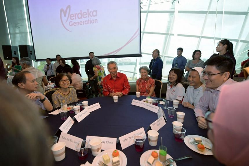 Prime Minister Lee Hsien Loong speaking to guests at the Merdeka Generation event at Gardens by the Bay.