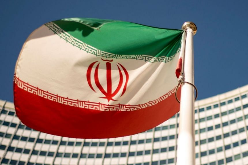 An Iranian flag outside the UN headquarters in Vienna, Austria, on Sept 10, 2018.
