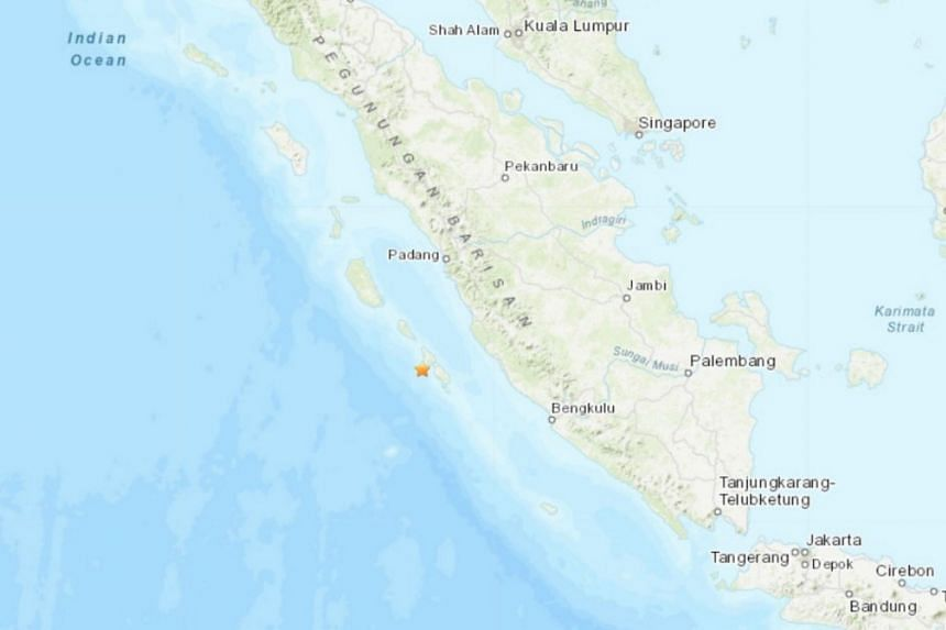 The earthquake hit at a depth of 10km in the Mentawai island region in West Sumatra province, about 100km south-east of the town of Tuapejat and 200km south of the major port city of Padang.