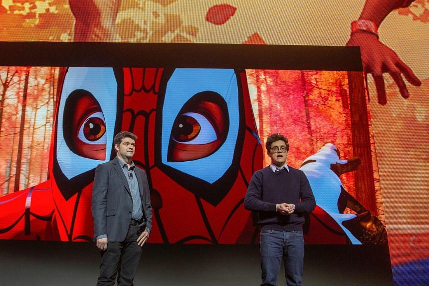 Chris Miller (left) and Phil Lord speaking at the Sony Electronics press conference at the Las Vegas Convention Center during CES 2019, on Jan 7, 2019.