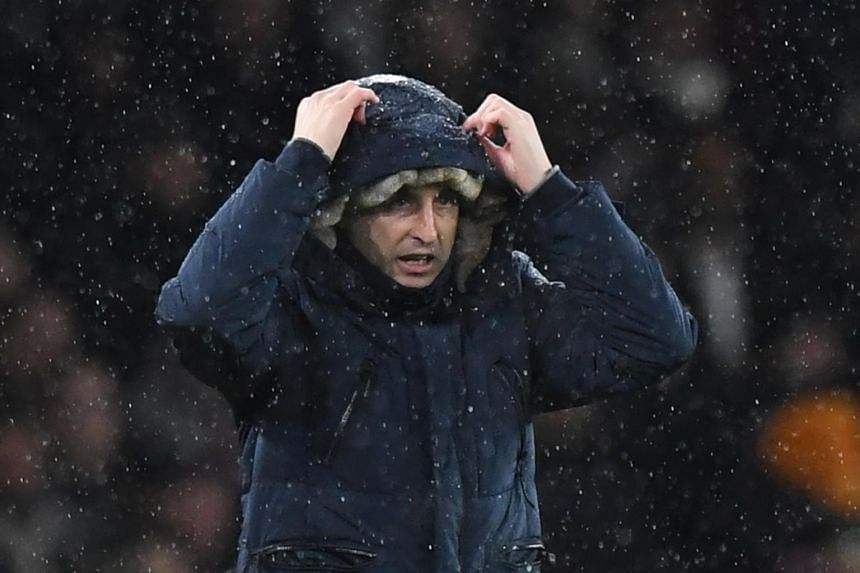 Arsenal manager Unai Emery reacts during the English Premier League soccer match between Arsenal and Cardiff City at the Emirates stadium in London, Britain, on Jan 29, 2019.