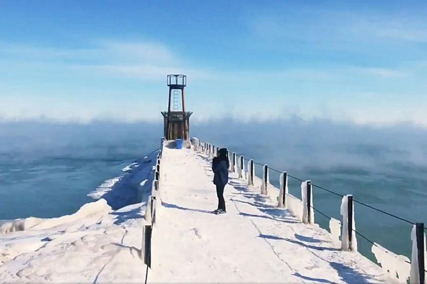 A view of the pier on Lake Michigan during subzero temperatures in Chicago, on Jan 31, 2019.