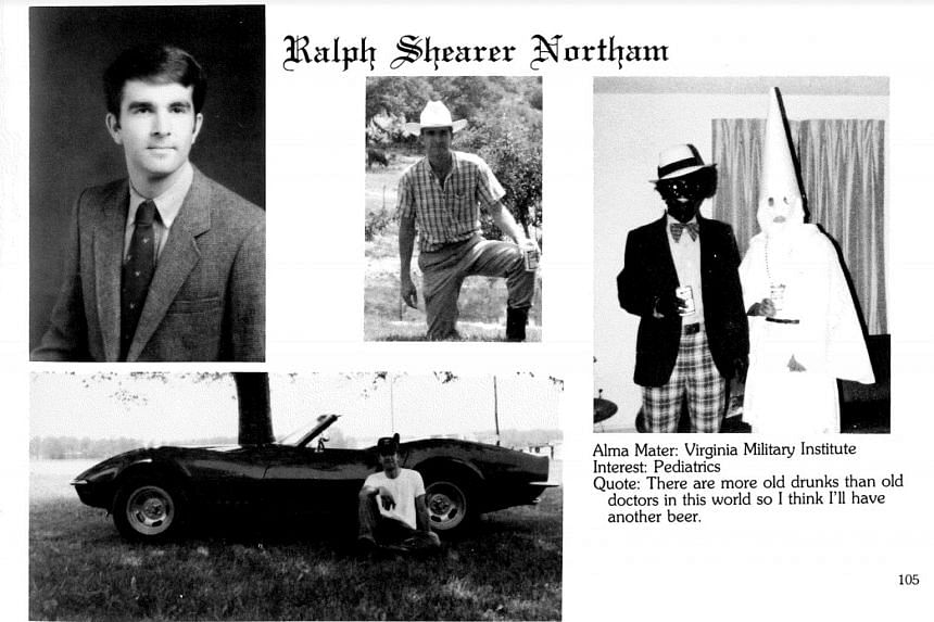 A photograph in the 1984 medical school yearbook of Ralph Northam, now the governor of Virgina, showing him and another person in racist garb.