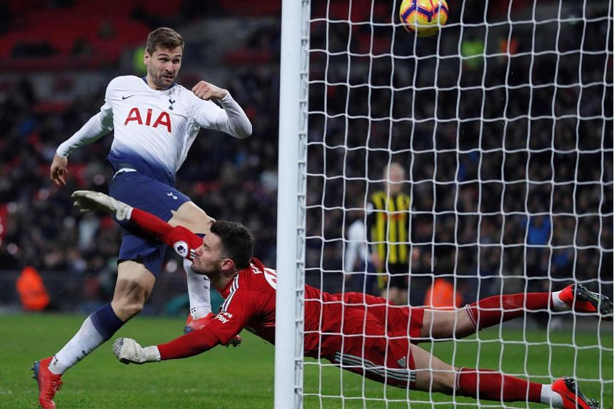 Tottenham Hotspur's Spanish striker Fernando Llorente (left) during the English Premier League football match between Tottenham Hotspur and Watford at Wembley Stadium in London, on Jan 30, 2019.