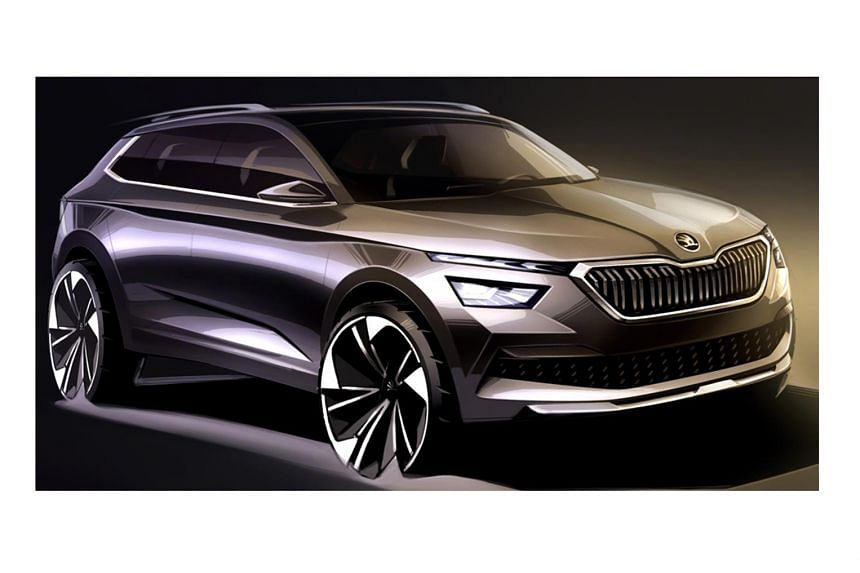 Here is the first sketch of the new Skoda Kamiq. The compact urban crossover has a relatively high ground clearance and features split headlights with daytime-running LEDs - a first for the brand.