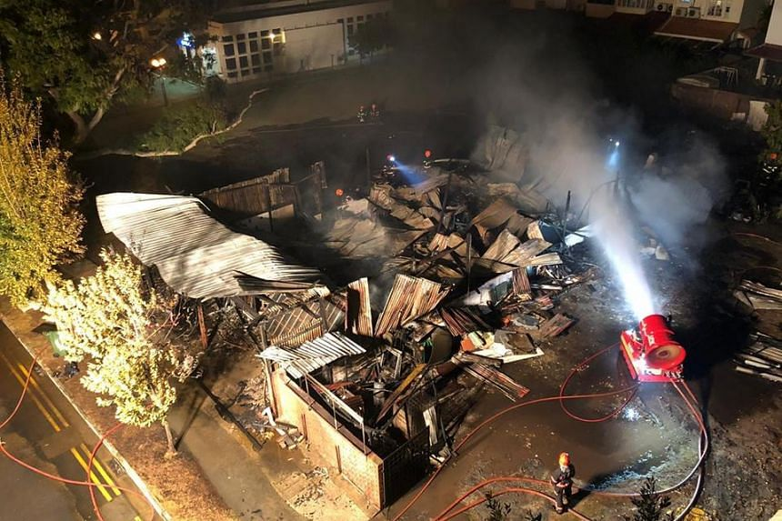 The fire took the Singapore Civil Defence Force about two hours to extinguish.