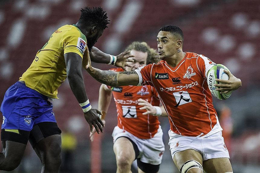 The Sunwolves (in red) will play the Cell C Sharks at the Singapore Sports Hub on Feb 16. They will return for their second game, against the Emirates Lions, on March 23 at the same venue. They played only one match here last year, beating South Afri