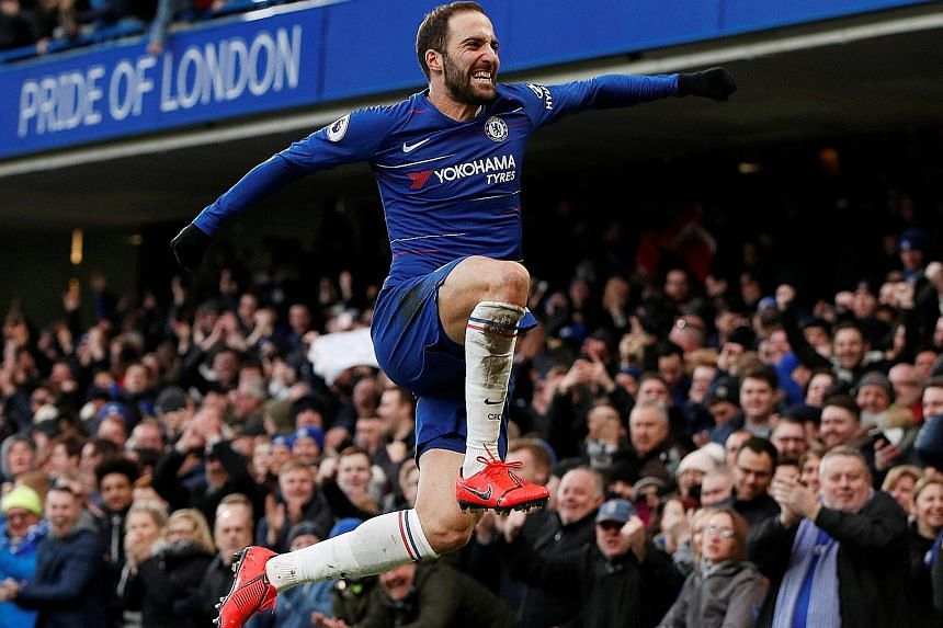 Gonzalo Higuain leaps for joy in front of the Stamford Bridge faithful after netting his first goal in Chelsea colours against Huddersfield yesterday. The Argentinian, making his third appearance for the Blues since moving from AC Milan last month, s