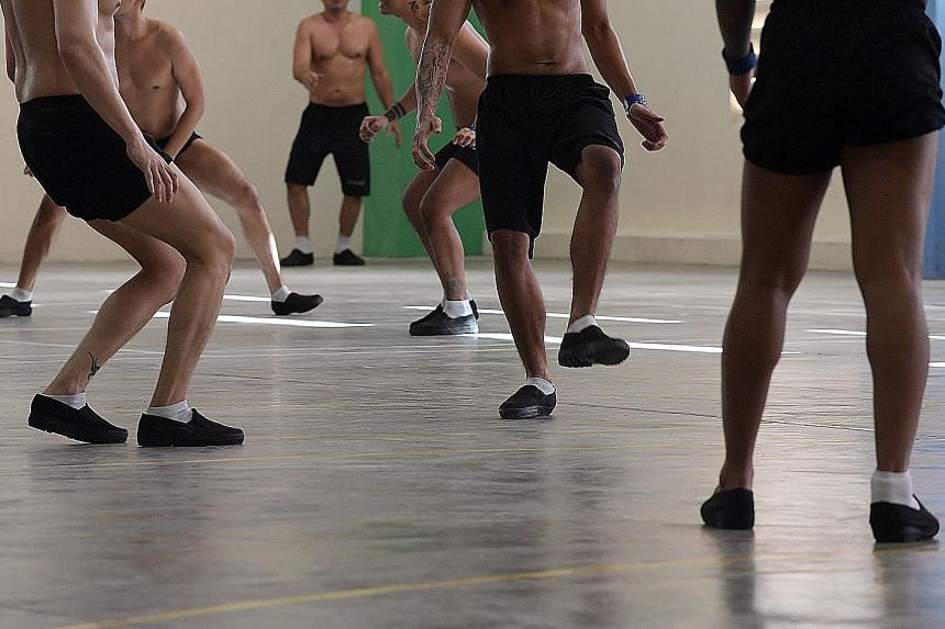 Inmates exercising at a drug rehabilitation centre in Upper Changi Road North. In 1990 the number of people in DRCs was 5,350. By 1994, it was 8,700, then Home Affairs Minister Wong Kan Seng said in 1995.