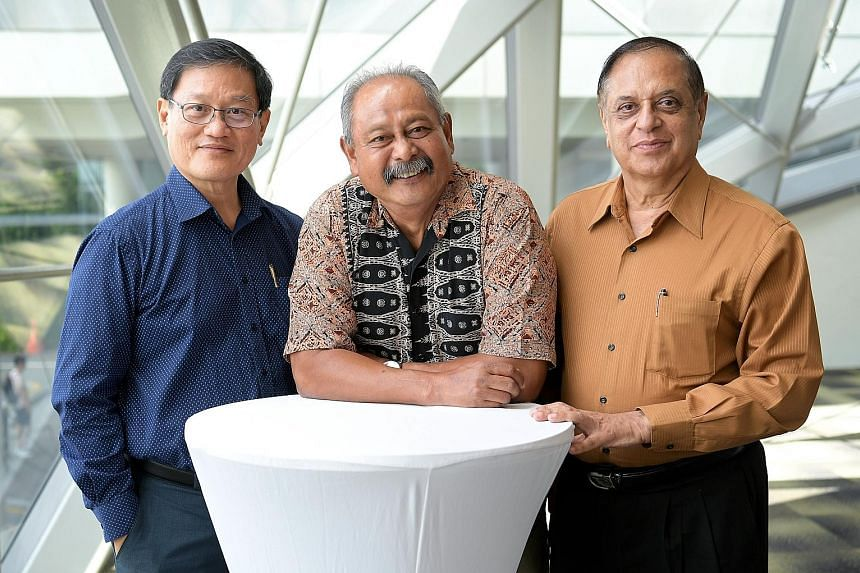 (From left) Mr Eric Wong, 63, Mr Mohamed Salleh Ali, 61, and Mr Nijinder Sharma, 68, were among some 200 members of the Merdeka Generation who were honoured for their contributions yesterday.