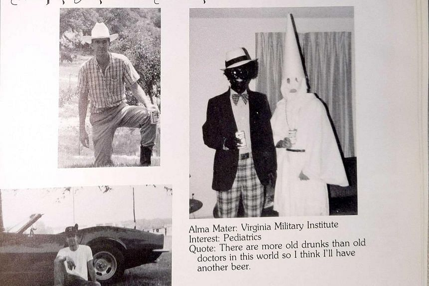 Democrat Governor Ralph Northam did not confirm which costume he wore in the photo on his 1984 yearbook page (above).