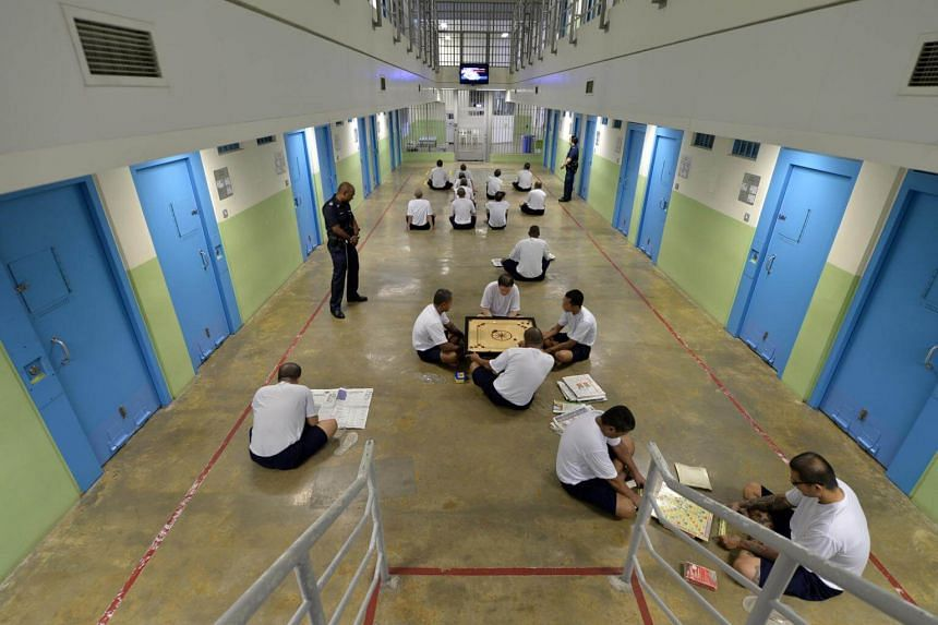Inmates engaging in interactive indoor recreational activities at the Changi Prison Complex. The changes to the Misuse of Drugs Act send a signal that rehabilitation, rather than punishment, is the way to tackle the problem of drug abusers.