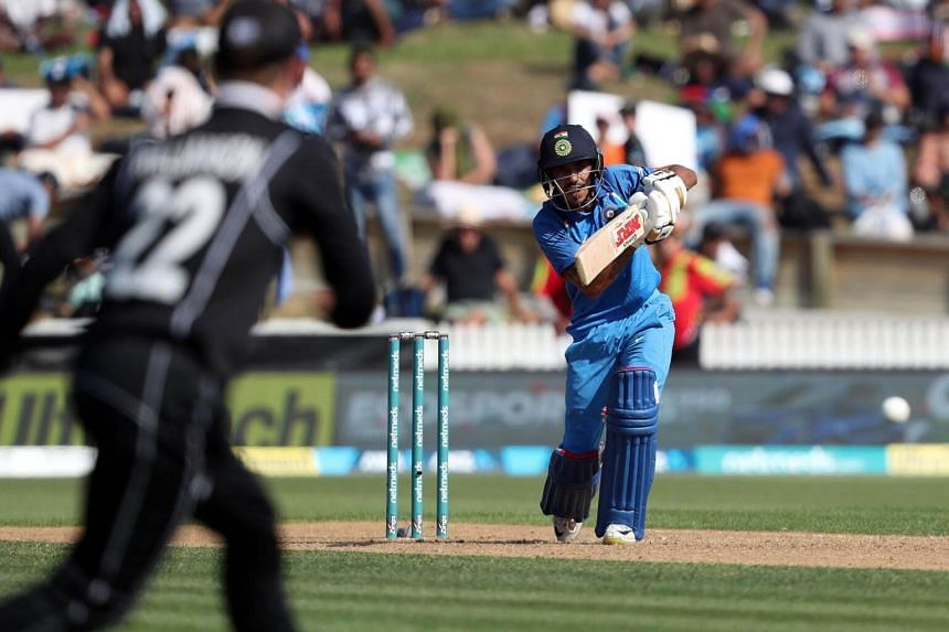 India's Yuzvendra Chahal bats during the fourth one-day international cricket match between New Zealand and India at Seddon Park in Hamilton, on Jan 31, 2019.