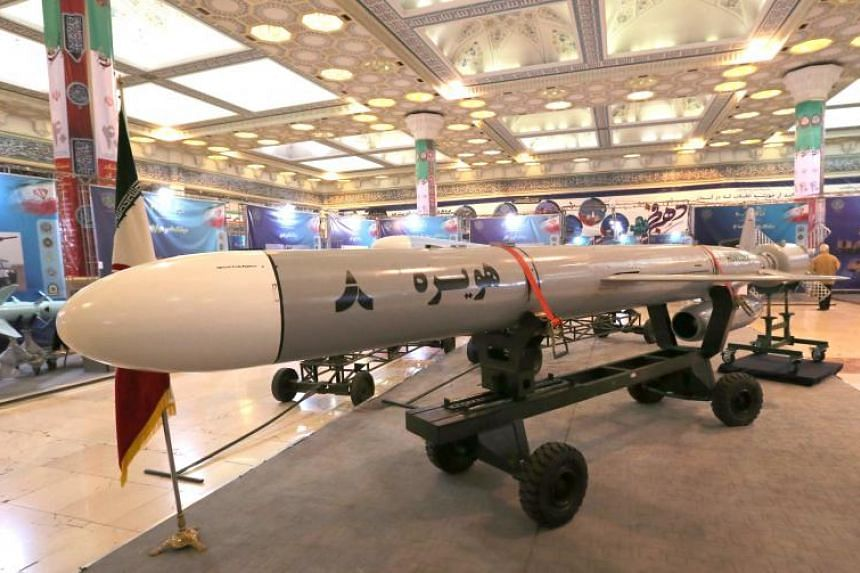 Hoveizeh, Iran's new cruise missile, is exhibited in the capital Teheran on Feb 2, 2019.