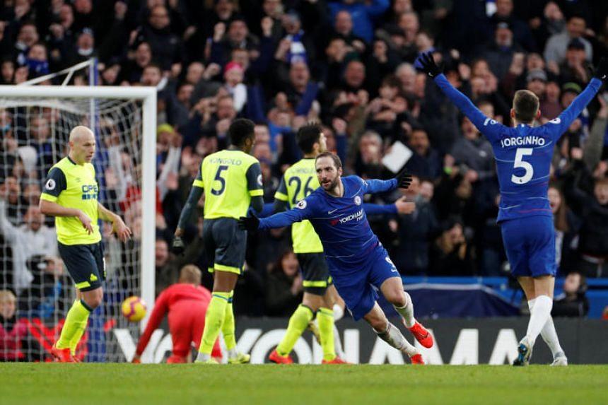 Chelsea's Gonzalo Higuain celebrates scoring their fourth goal at Stamford Bridge, London, Britain, on Feb 2, 2019.