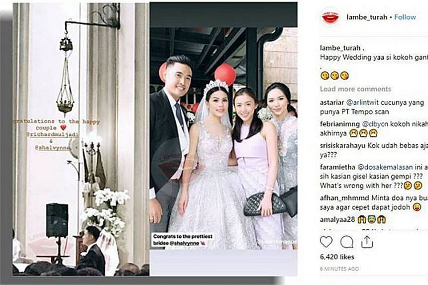 Photos circulating online show Richard Muljadi getting married to former model and actress Shalvynne Chang at a church, with comments from netizens ranging from praise to expressions of shock as to how he could have been allowed out of detention.