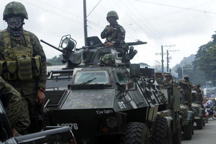 Philippine government troops patrolling in Jolo town, in Sulu province off Mindanao, on Jan 22, 2019.
