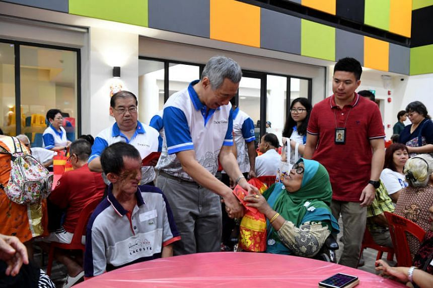Prime Minister Lee Hsien Loong meets senior residents at Teck Ghee Community Club on Feb 3, 2019.