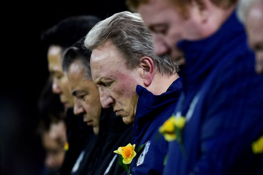 Cardiff City manager Neil Warnock during a minute's silence for Emiliano Sala before the team's match against Bournemouth on Feb 2, 2019.