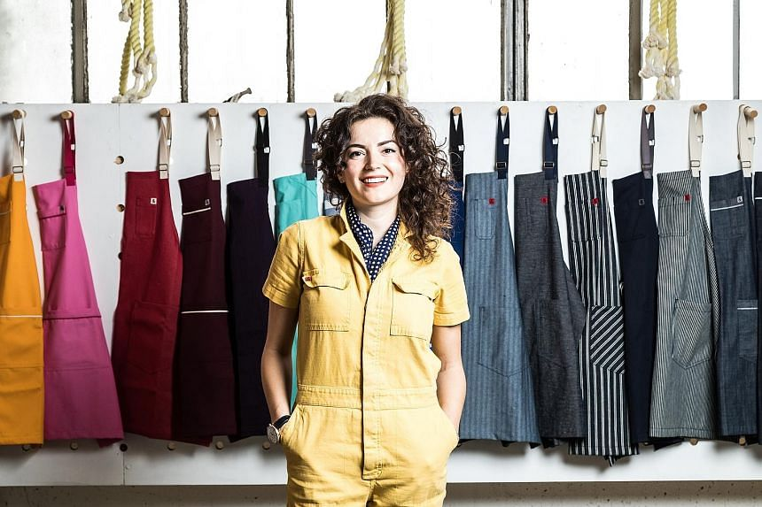 Founded by Ms Ellen Bennett, Hedley & Bennett in Los Angeles stocks colour aprons (above) as well as sizes to fit many body types.