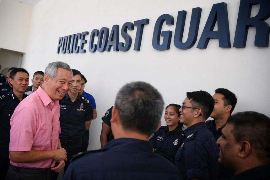 Prime Minister Lee Hsien Loong visited the Police Coast Guard headquarters in Pulau Brani on Monday morning (Feb 4).