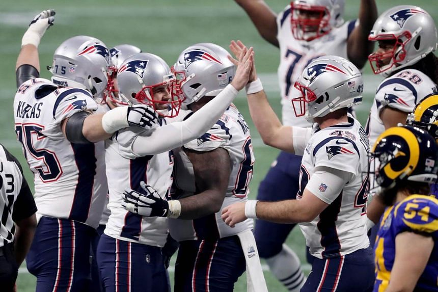 The New England Patriots celebrate after a field goal during the fourth quarter of Super Bowl LIII against the Los Angeles Rams at Mercedes-Benz Stadium, on Feb 3, 2019.