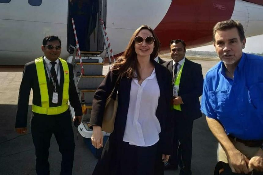 US actress and humanitarian Angelina Jolie, a special envoy for the United Nations High Commissioner for Refugees, arrives at the airport in Cox's Bazar in southern Bangladesh, ahead of a visit to nearby Rohingya refugee camps on Feb 4, 2019.