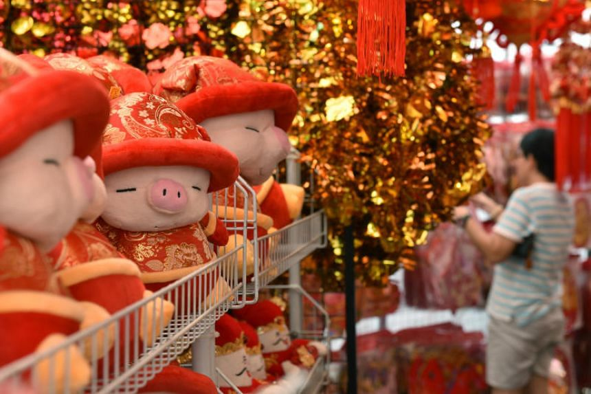 Shoppers browsing through Chinese New Year decorations in Jurong West on Jan 17, 2019.