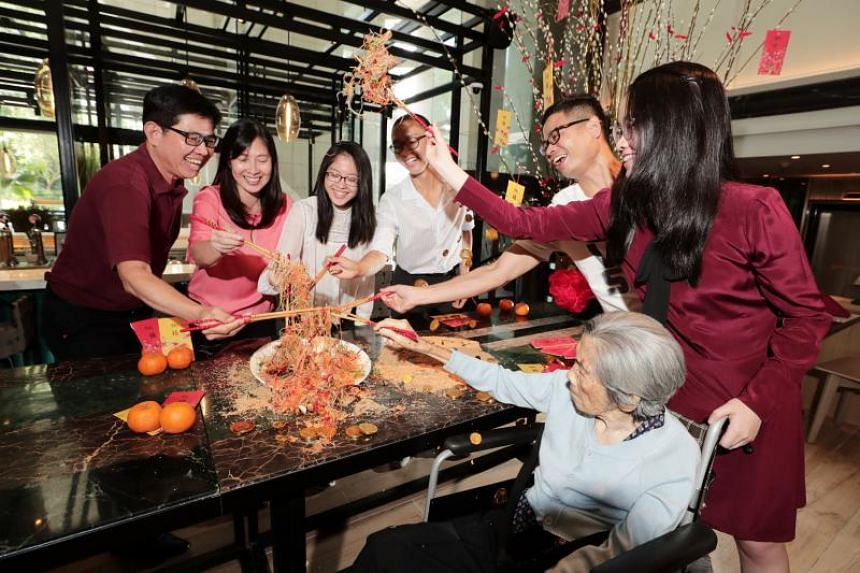 Housewife Ms Cynthia Ng (second, left) and family having their reunion lunch at The Orchard Cafe on Feb 4, 2019.