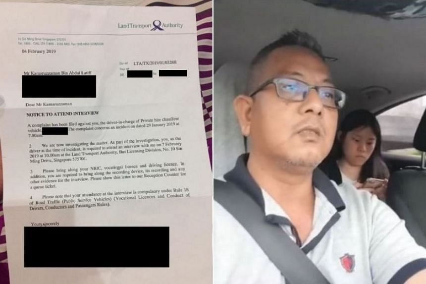 "The Land Transport Authority asked Mr Kamaruzzaman to bring his NRIC, vocational licence, driving licence, as well as ""the recording device, its recording and any other evidence""."