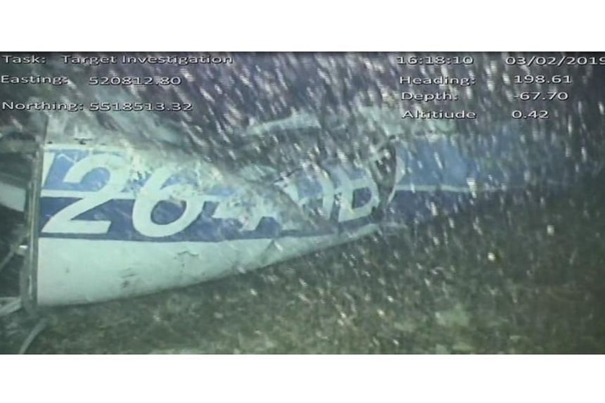 Part of the wreckage from the missing Piper Malibu aircraft that disappeared two weeks ago carrying footballer Emiliano Sala and pilot David Ibbotson, lying on the seabed under the English Channel.