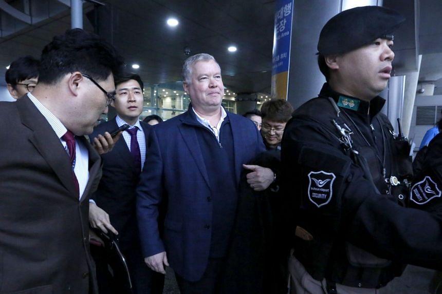 Mr Stephen Biegun (centre) arrives at Incheon airport, in Seoul, South Korea, on Feb 3, 2019.