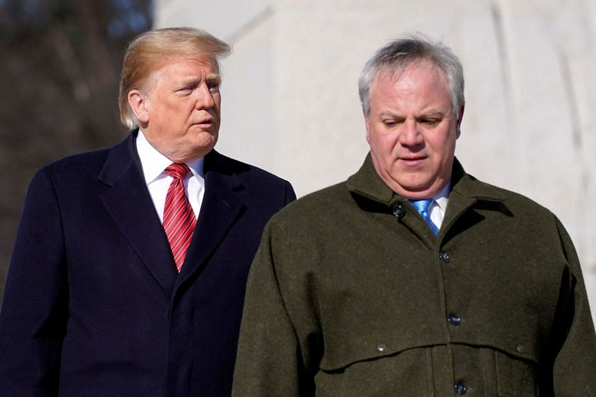 US President Donald Trump (left) and acting US Secretary of Interior David Bernhardt in January 2019.