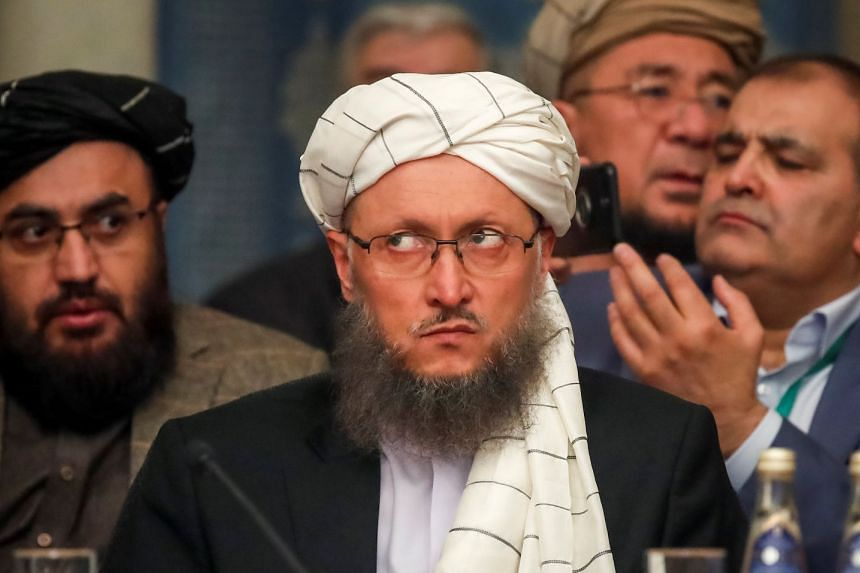 Taleban official Abdul Salam Hanafi attends two-day talks at the President Hotel in Moscow.