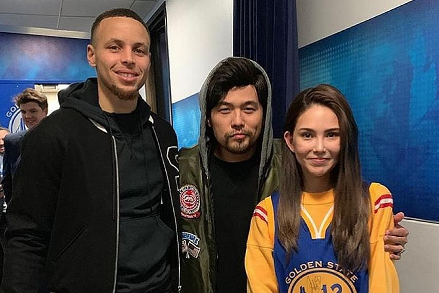 JAY CHOU AND WIFE MEET BASKETBALL STAR: Actress-model Hannah Quinlivan is the envy of many National Basketball Association (NBA) fans after her husband, Taiwanese pop star Jay Chou, posted a photo of them with star player Stephen Curry in the United
