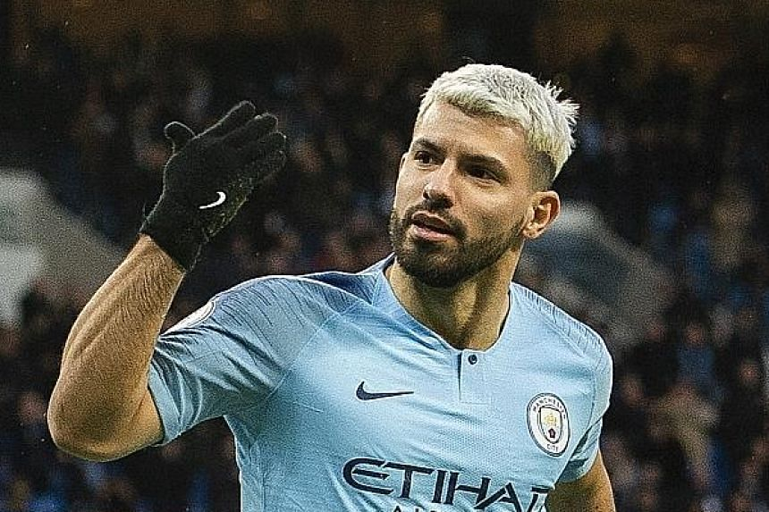 """Sergio Aguero scoring Manchester City's opener against Arsenal on Sunday after just 46 seconds. Pep Guardiola hailed the 3-1 home win as """"we didn't recognise our team"""" in their shock midweek loss to Newcastle."""